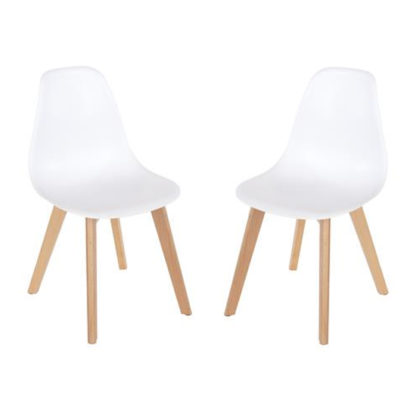 An Image of Arturo White Bistro Chair In Pair With Wooden Legs