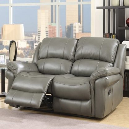 An Image of Claton Recliner 2 Seater Sofa In Grey Faux Leather