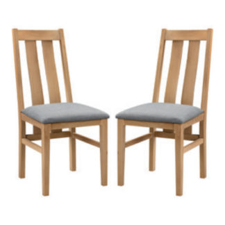 An Image of Cotswold Oak Wooden Dining Chair In Pair