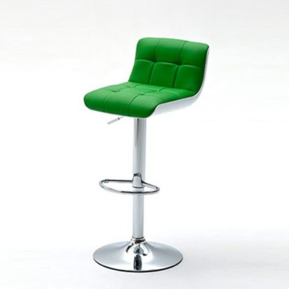 An Image of Bob Green Bar Stool In Faux Leather With Chrome Base