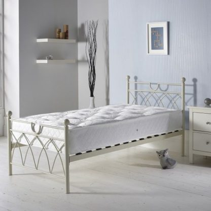 An Image of Dales Contemporary Metal Single Bed In Cream