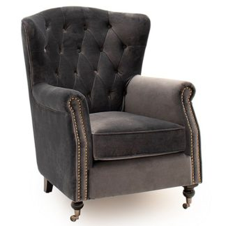 An Image of Reedy Velvet Wingback Chair In Grey With Metal Castor