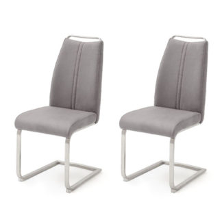 An Image of Giulia Ice Grey Leather Cantilever Dining Chair In A Pair