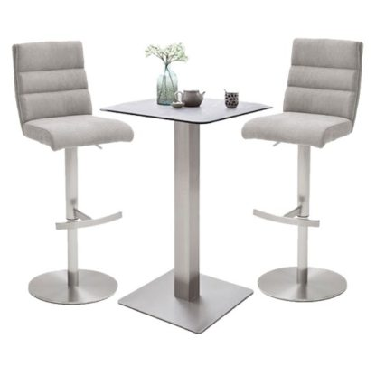 An Image of Soho Glass Bar Table With 2 Hiulia Ice Grey Fabric Stools