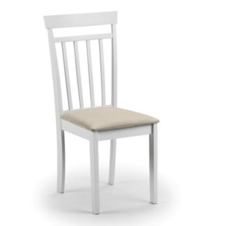 An Image of Meridian Wooden Dining Chair In White With Ivory Fabric Seat