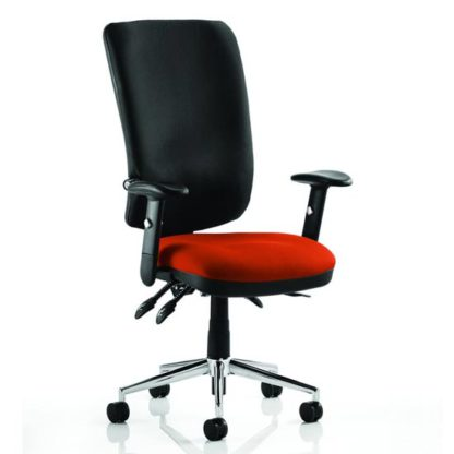 An Image of Chiro High Black Back Office Chair In Tobasco Red With Arms