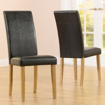 An Image of Cepheus Brown Faux Leather And Solid Oak Dining Chairs In Pair