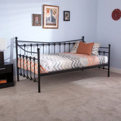 An Image of Memphis Steel Single Day Bed In Black