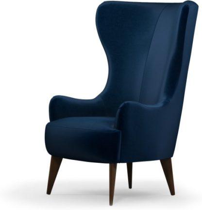 An Image of Custom MADE Bodil Accent Armchair, Regal Blue Velvet with Dark Wood Leg