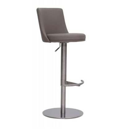 An Image of Fabio Bar Stools In Brushed Stainless Steel and Taupe PU Base