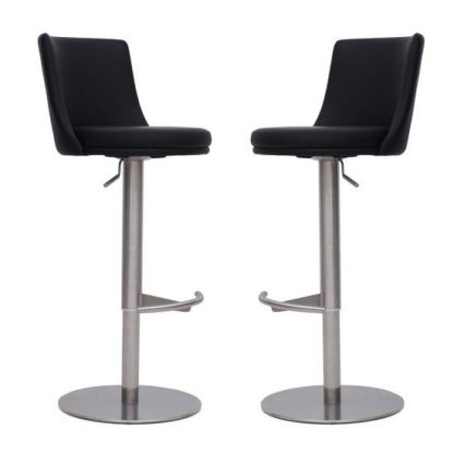 An Image of Fabio Bar Stools In Black Faux Leather In A Pair