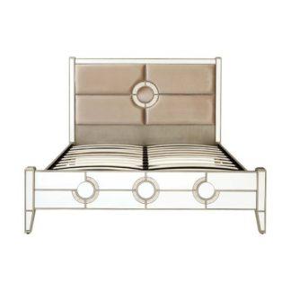An Image of Antibes King Size Bed In Fabric And Mirrored Glass Frame
