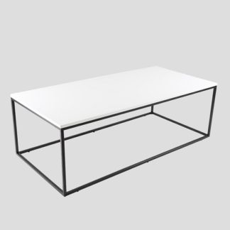 An Image of Alpen Coffee Table In White High Gloss With Black Metal Frame