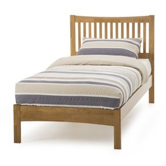 An Image of Mya Hevea Wooden Single Bed In Honey Oak