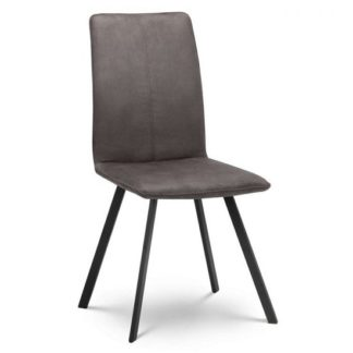 An Image of Anya Fabric Dining Chair In Charcoal Grey With Black Steel Legs