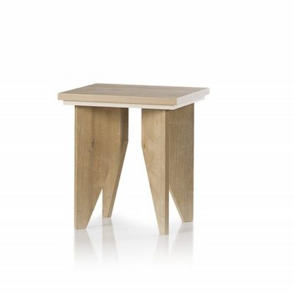 An Image of Michigan Wooden Lamp Table Sqaure In Oak And Cream