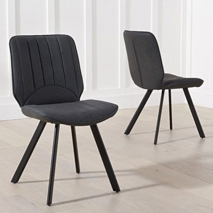 An Image of Achernar Grey Faux Leather Dining Chair In Pair