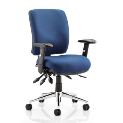 An Image of Chiro Fabric Medium Back Office Chair In Blue With Arms
