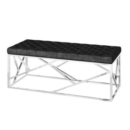 An Image of Kieta Velvet Fabric Upholstered Dining Bench In Black