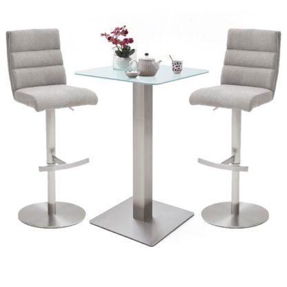 An Image of Soho White Glass Bar Table With 2 Hiulia Ice Grey Fabric Stools