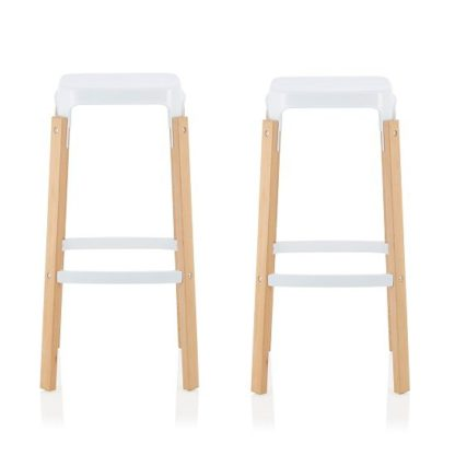 An Image of Hoker 66cm Bar Stools In Glossy White In A Pair