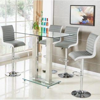 An Image of Jet Glass Bar Table In Clear With 4 Ritz Grey Bar Stools