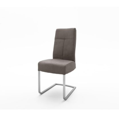 An Image of Ibsen Modern Dining Chair In Leather Look Brown