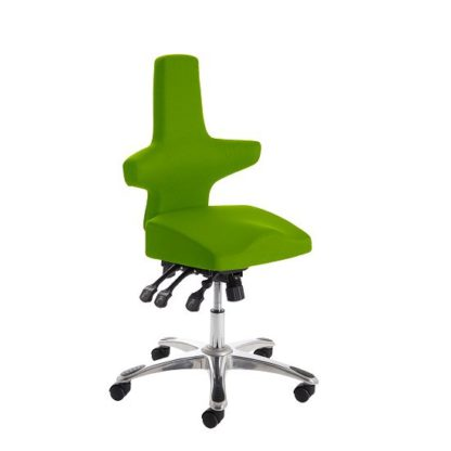 An Image of Stacy Home Office Chair In Green With Chrome Base