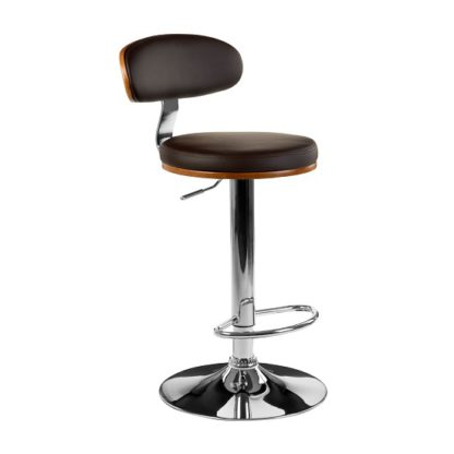 An Image of Crofton Bar Stool In Brown Faux Leather With Chrome Base