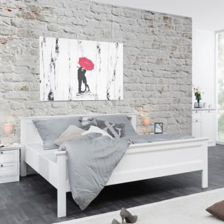An Image of Country Wooden 180x200cm Large Bed In White