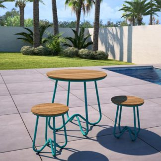 An Image of Novogratz Bobbi Bistro Set In Turquoise With 2 Stools