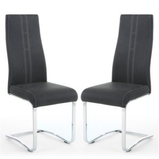 An Image of Nova Dark Grey Leather Cantilever Dining Chair In A Pair