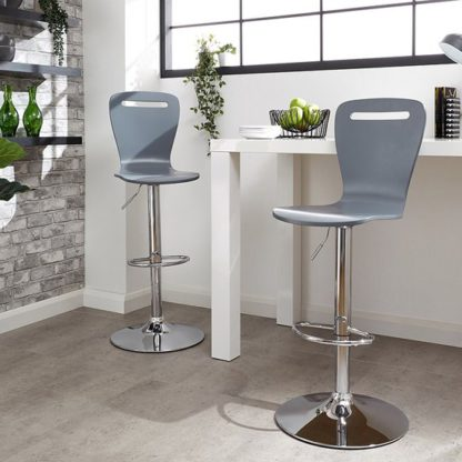 An Image of Long Island Grey Wooden Gas-lift Bar Stools In Pair