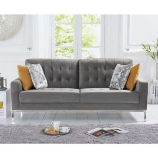 An Image of Swiger Velvet Three Seater Sofa In Grey With Metal Legs
