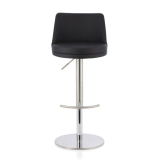 An Image of Niven Bar Stool In Black Faux Leather And Stainless Steel Base