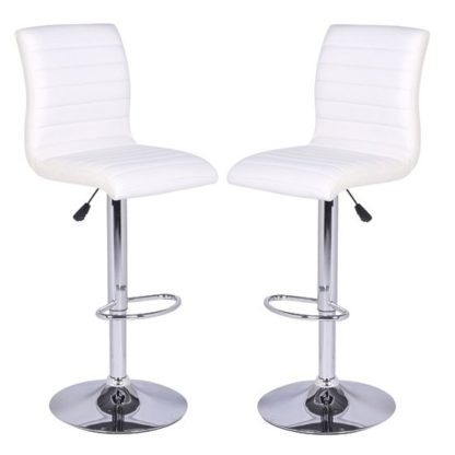 An Image of Ripple Bar Stools In White Faux Leather in A Pair