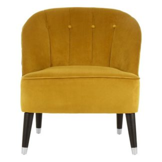 An Image of Agoront Velvet Upholstered Lounge Chair In Yellow Finish