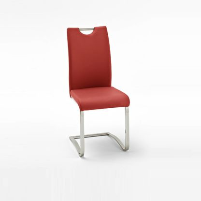 An Image of Koln Dining Chair In Red Faux Leather With Chrome Legs