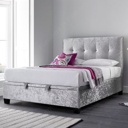 An Image of Florus Ottoman Storage Super King Bed In Crushed Silver Velvet