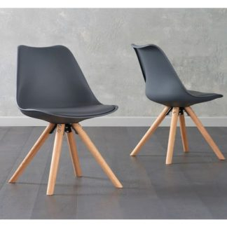 An Image of Tupa Dark Grey Faux Leather Chairs In Pair With Round Leg