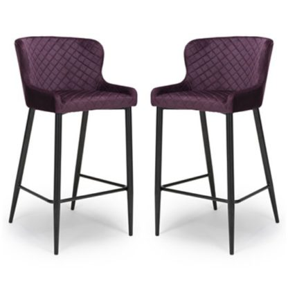 An Image of Malmo Mulberry Velvet Fabric Bar Stool In Pair With Metal Base