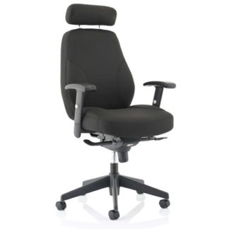 An Image of Georgia Fabric Executive Office Chair In Black With Arms