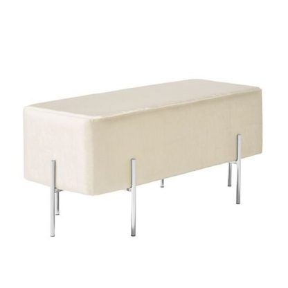 An Image of Ryman Bench In White Velvet And Polished Stainless Steel