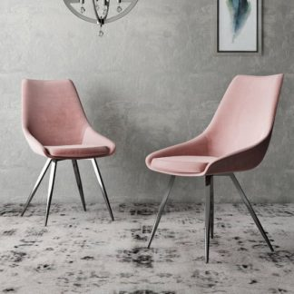 An Image of Lanna Pink Velvet Fabric Dining Chairs In Pair