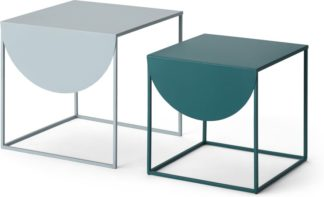 An Image of MADE Essentials Emira Nesting Side Tables, Grey & Teal