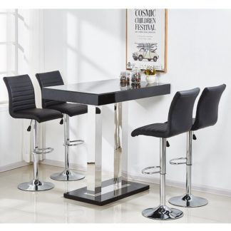 An Image of Caprice Glass Bar Table Set In Black Gloss 4 Ripple Bar Stools