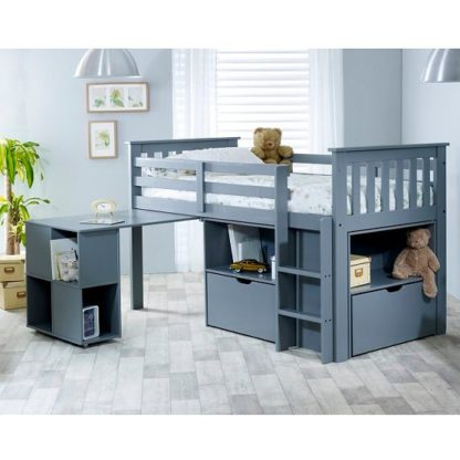 An Image of Gabriella Mid Sleeper Bed In Grey With Storage And Desk