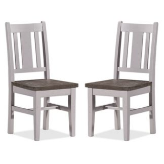 An Image of Galleon Wooden Dining Chair In Cotton White In A Pair