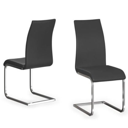An Image of Paolo Black Faux Leather Dining Chair In A Pair