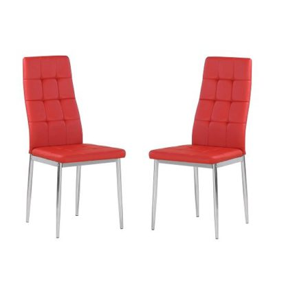 An Image of Cosmo Dining Chair In Red Faux Leather in A Pair